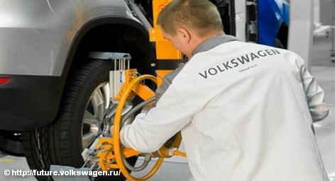 В сборочном цеху одного из заводов концерна Volkswagen