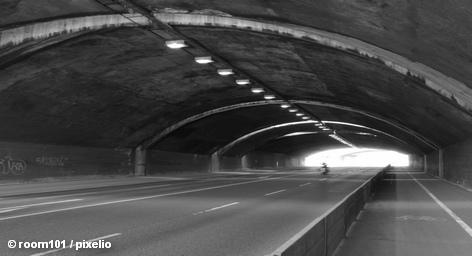 дорога, мотоцикл, автобан, туннель