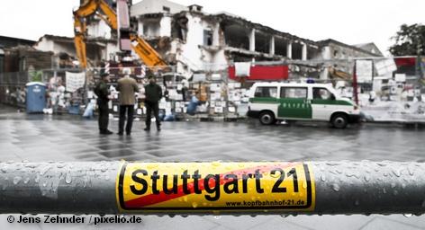 На месте строительства нового железнодорожного вокзала в рамках проекта «Штутгарт 21»