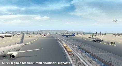 Через год должен открыться новый международный аэропорт Берлин и Бранденбурга (BBI). На его фоне ныне действующий поблизости аэропорт «Шёнефельд» сжимается до миниатюрных размеров. Первоначально планировалось, что BBI предназначен для 27 миллионов пассажиров в год. Однако затем этот показатель был увеличен до 45 миллионов, для которых потребуется 360 тысячам самолетов в год.