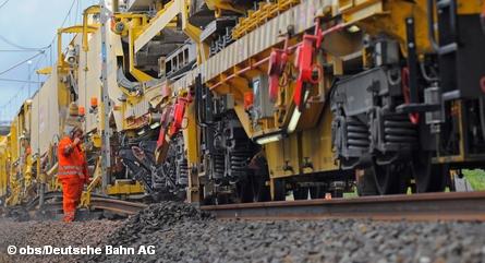 Ремонтные работы на путях концерна немецких железных дорог Deutsche Bahn