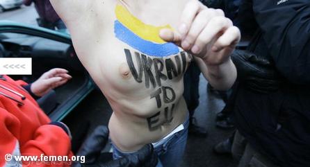 Акция протеста украинского движения FEMEN на саммите «Восточное партнёрство» в Вильнюсе.