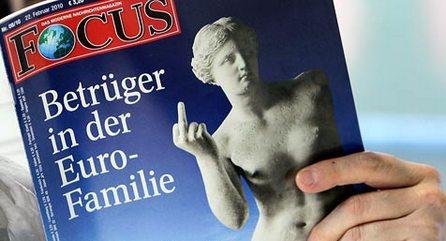 """Обложка немецкого общественно-политического журнала """"Фокус"""" с коллажем, на котором художник пририсовал знаменитой безрукой статуе Венеры Милосской руку, показывающую неприличный жест"""