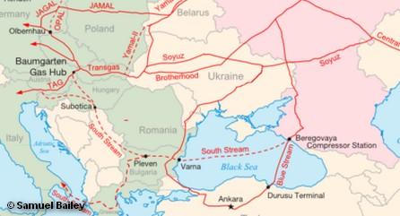 Предполагаемый маршрут строительства газопровода «Южный поток» и маршрут существующего газопровода «Голубой поток»
